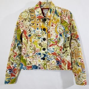 Chico's Multi Colored Abstract Jacket Size 0